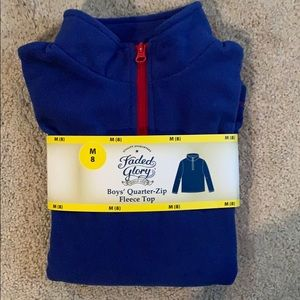 New Boys Faded Glory Quarter Zip Fleece Top
